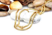 Schlangenkette Edelstahl Gelbgold vergoldet 1 -3 mm Halskette Anhänger 40 -70 cm