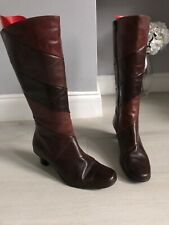 K For Clarks Brown Leather Knee High Boots Low Heel Size 6