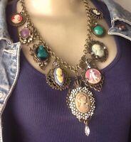 Vintage Necklace Victorian Menagerie 9 Filigree Cameo Rhinestone Pendants