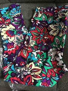 Lularoe Leggings TC Floral Purple Red Green Yellow Flowers NWT Tall And Curvy