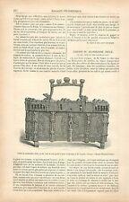 Coffret du XIVe en Fer Cuir gaufré et doré à Gand Belgique GRAVURE PRINT 1878