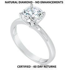 1.5 Ct Real Natural Diamond Engagement Ring Round Cut G Vvs2 14K White Gold