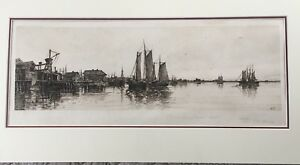 """Charles Frederick Mielatz Etching """" Reminicences of Newport Harbor"""""""