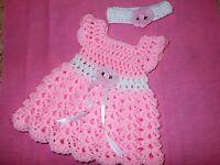 Hand crochet baby girl set, dress,and headband by Rocky Mountain Marty