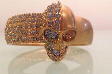 ALEXANDER MCQUEEN Skull Bracelet Cuff Gold Tone Sapphire Swarovski Ret. $595