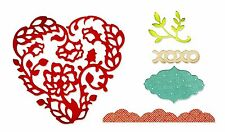 Sizzix Thinlits Heart Card Front set #659013 Retail $19.99 5 dies: heart, xoxo+