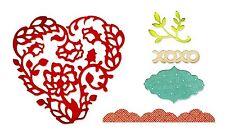 Sizzix Thinlits Heart Card Front set #659013 Retail $19.99 5 dies: heart, xoxo+