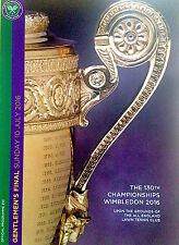 Wimbledon TENNIS DA UOMO finale 2016 Murray V Raonic PROGRAMMA UFFICIALE