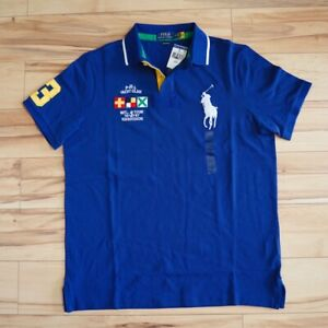 Men Polo Ralph Lauren BIG PONY Mesh Polo Shirt Fine Quality Classic Fit - S-XXL