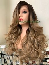 Honey Golden blonde lace front wig Ombre Mix Wavy Layered Heat Ok 24 Inch Long