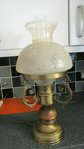 Vintage Italian Oil Lamp Style Table Lamp with Glass Shade and Funnel - perfect