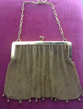Antique ladies solid 9ct gold Mesh handbag purse. Original c1909 English