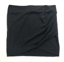 Helmut Lang Mini Skirt Solid Black Gathered Ruched Party Career Size Large