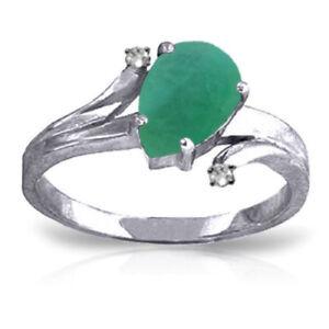 Genuine Emerald Pear Gemstone & Diamonds Ring 14K. Yellow ot White or Rose Gold