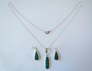 925 Sterling Silver Malachite Matching Necklace Pendant Dangle Drop Earrings