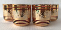 Vintage Kyongnam Glass Tumblers (4) Pink Gold Gilt Mid Century Korea