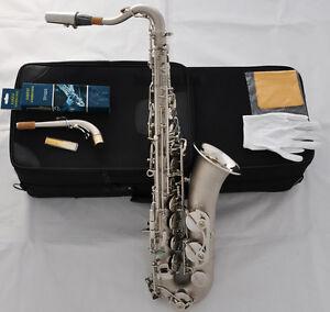 Professional Satin Nickel C Melody Saxophone Abalone shell High F# sax 2 Necks
