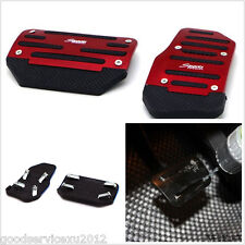 2 Pcs Red Automatic Cars Accelerator Brake Pedals Cover Foot Rest Nonslip Safety