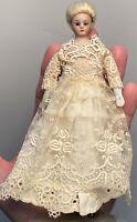 Early Antique German Simon & Halbig 1160 Doll House Doll Original White Dress
