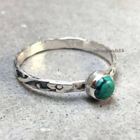 Turquoise 925 Sterling Silver Wide Band Ring Meditation Ring Jewelry sz7745