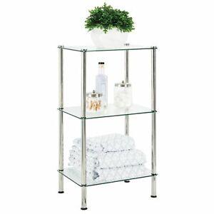 mDesign Bathroom Floor Storage Tower Unit, 3 Tier - Clear Glass/Chrome Metal