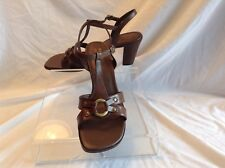 Axcess  ladies brown leather t-strap sandals in size 9.5 medium