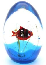 Captivating Elio RAFFAELI MURANO Red Striped FISH AQUARIUM Art Glass Paperweight