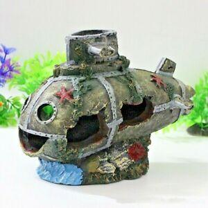 Wreck Sunk Submarine Aquarium Sculpture Figurine Ornament Home Office Decoration