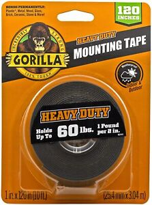 """GORILLA HEAVY DUTY MOUNTING TAPE 120"""" UP TO 60 LBS NEW"""
