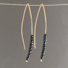 Black Hematite Wishbone Threader Earrings Gold Fill, Rose Gold Fill or Silver