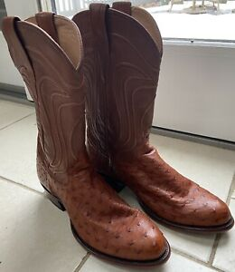 Tecovas The Wyatt Pecan Ostrich Men's Cowboy Boots Size 9 EE