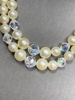 1950S  White Aurora Borealis Crystal  Beaded Two Strand Faux Pearl Necklace  14""