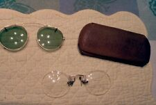 Old Vintage Spectacles Gold Pinch Nosepad Type Bifocals w/ Case & Clip Sunglass