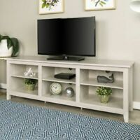 "White Wash TV Media Entertainment Console Storage Stand Credenza for 78"" TV NEW"