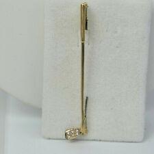 Brosche aus Gold 750, 6 Diamanten, Golfschläger, Golf, 58 mm lang, 3,15 Gramm