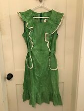1960's Vintage Ladies Green Dress Stripped Polka Dot Pockets Attached Belt