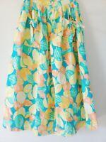 1980s Tropical Print Summer Skirt 100% Cotton Tropical Range Citrus  Size 8 - 10