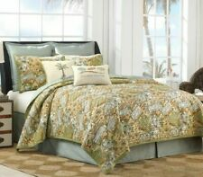 Tropical Paradise Postcard Reversible Green Blue TWIN Quilted Bedspread