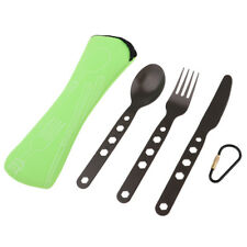 Outdoor Portable Travel Camping Cutlery Set Knife Fork Spoon w/ Pouch Green