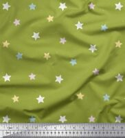 Soimoi Fabric Yellow & White Star Printed Craft Fabric by the Yard - SR-3H