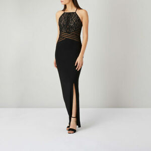 COAST ADELINE BLACK NUDE SHEER SEQUIN LACE MAXI DRESS 8 TWICE £149 WASHABLE