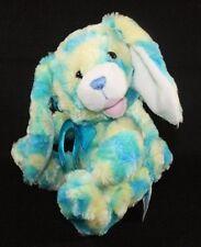 Plush stuffed Puppy Dog Tie Dye Blue Aqua Yellow Soft Curly fur Kids Of America