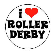 I LOVE ROLLER DERBY pin button badge skates girls tough