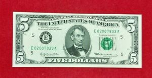 1969 $5 FRN Federal Reserve Note Green Seal DOUBLE REPEAT SERIAL # Average UNC