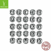 Free 26 letters European Silver CZ Charm Beads Fit sterling 925 Bracelets Chain