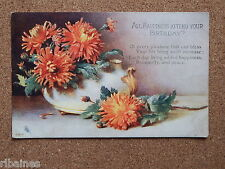 R&L Postcard: Happiness Attend Your Birthday, Flowers in a Vase, Tuck's, 1918