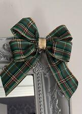 1 Green Gold Tartan Double Bow Xmas Tree Decorations, Garland Mirrors 14 X 16 Cm