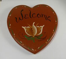 Rosemaling Wood Wall Plaque Heart Shape Floral D. Andrich
