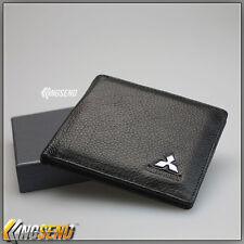 deluxe MITSUBISHI Genuine 100% Cow Leather Bifold Wallet Men Slim Purse Car Gift