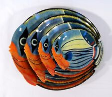 "Hand Painted Fruit Plate Tropical Fish Design 6"" 8"" 10"" 12"" (set of 4) 31C"